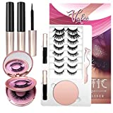 Vafee Magnetic Eyelashes with Eyeliner, 10 Pairs Magnetic eyelashes,Upgrades 3D Magnetic Eyelashes kit, Reusable Eyelashes with 2 Eyeliners, Easy to Carry