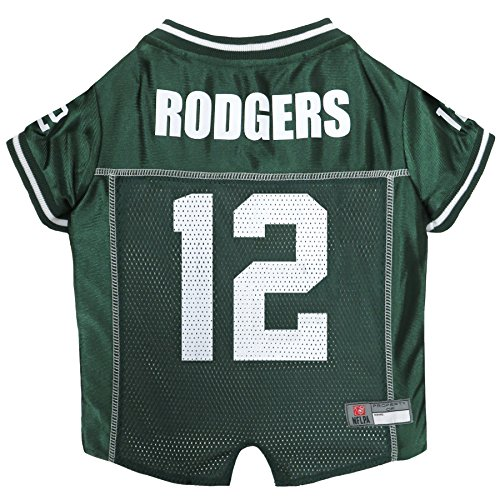 NFLPA Dog Jersey - Aaron Rodgers #12 Pet Jersey - NFL Green Bay Packers Mesh Jersey, X-Large