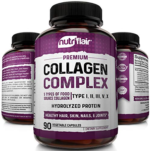 NutriFlair Multi Collagen Peptides Pills 2250MG, 90 Capsules - Type I, II, III, V, X - Premium Collagen Complex - Hydrolyzed Protein Supplement for Anti-Aging, Healthy Joints, Hair, Skin, and Nails