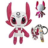 Tokyo Olympic Games Mascot Plush 2021, 9.8 pulgadas Tokio Olympic Japan juguetes de peluche Miraitowa y Someity muñecas de peluche con llavero para olímpico (rojo)