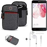 K-S-Trade® Gürtel-Tasche + Kopfhörer Für -Hisense F20 Dual-SIM- Handy-Tasche Schutz-hülle Grau Zusatzfächer 1x