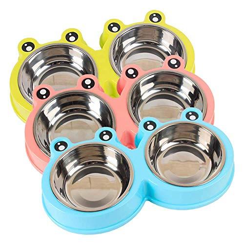 YIY 1 Stks Dubbele 10oz RVS Big Eye Cartoon Kikker Voedsel Water Feeder Dubbele Bowls met Niet morsen en Skid Resistant Silicone Base, Willekeurige Kleur