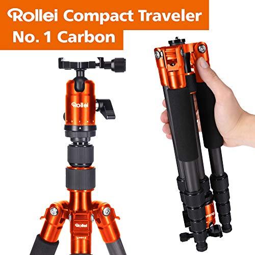 Rollei Compact Traveler No 1 Carbono - Trípode de viaje muy ligero (980 g incl. cabezal esférico), capacidad de carga máxima 8 kg, Arca Swiss compatibile, función de monopod, naranja