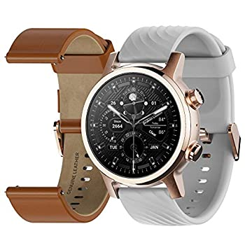 Moto 360 3rd Gen 2020 - Wear OS by Google - The Luxury Stainless Steel Smartwatch with Included Genuine Leather and High-Impact Sports Bands - Gold  Renewed