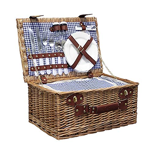 Rurality Picnic Basket for 2 Wicker Picknick Basket Set with Insulated Cooler for Outing Camping,Blue Gingham