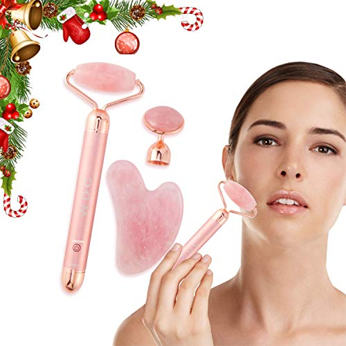 WDC 3-in-1 Vibrating Rose Quartz Face Roller Set with Gua Sha Jade Stone. Facial Skin Massaging, Authentic and Real Natural Crystal for Eye Massage, Reduce Wrinkles & Puffiness, Enhance Beauty 2020