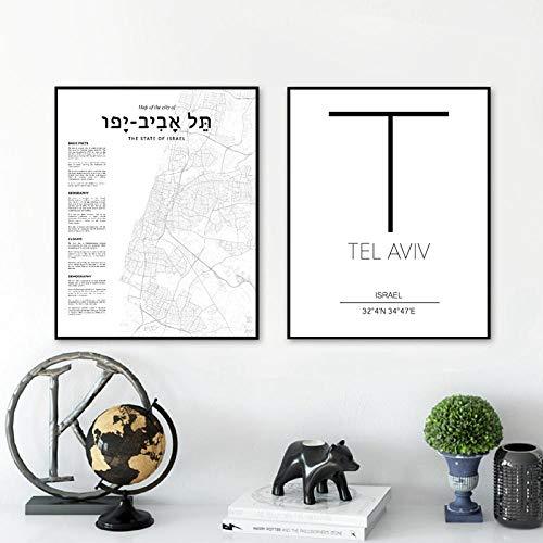 IGZAKER Tel Aviv kaart poster Israël stad kaart canvas print, coördinaten stad poster schilderij foto's voor woonkamer Home Wall Art Decor-60x80cmx2pcs geen frame