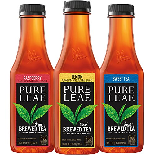 of popular iced tea brands Pure Leaf Iced Tea, Sweetened Variety Pack, 18.5 fl oz. cans (12 Pack)