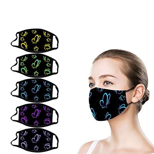 5 Stück Mundschutz mit Aufdruck Motiv, Atmungsaktive Mundbedeckung Stoff Anti Staub Mundschutz Wiederverwendbare Mund und Nasenschutz für Erwachsene