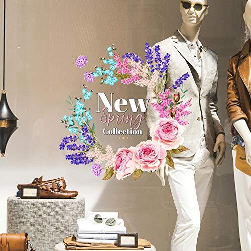 CRNC0059 - Pegatina para ventana de la colección Primavera Verano, 100 % reutilizable, decoración para escaparates de tiendas, escaparates sin pegamento, reposicionable y reutilizable a voluntad