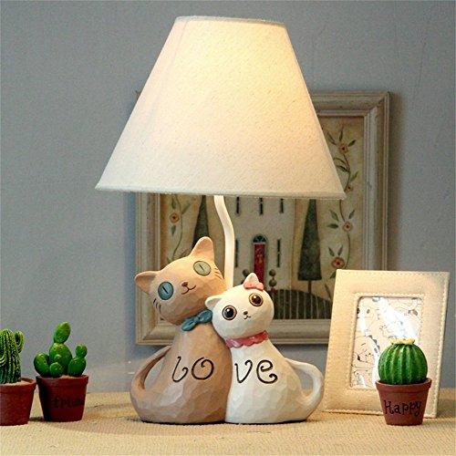HYLH Lámparas de Escritorio Habitación de los niños Pareja de Dibujos Animados Gato Lámpara de Mesa LED Dormitorio Lámpara de Noche Niño Creativo Lámpara de Mesa Decorativa Linda (Color: B)