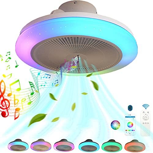 Moderno Ventilador de techo con iluminación, Inteligente RGB Música Lámpara de techo Fan Con Altavoz Bluetooth LED Ventiladores Luces de techo Mando a Distancia y APP Regulable Para Salón dormitorio