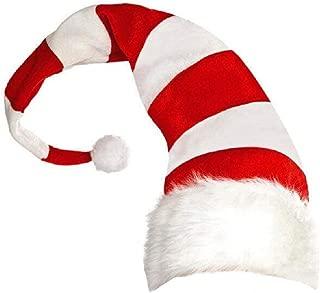 Amosfun Christmas Hat Santa Claus Hat Elf Style Stripes Hats Christmas Party Cap Xmas Headdress