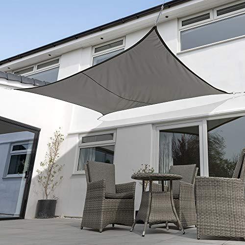 Kookaburra Waterproof Garden Sun Shade Sail Canopy in Charcoal 98% UV Block (4m x 3m Rectangle)