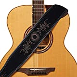 Amumu Guitar Strap Embroidered Suede Leather for Acoustic Giutar, Electric Guitar and Bass Guitar -Black