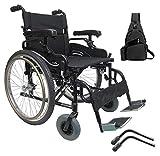 "Karman KM8520F22W Aluminum Lightweight Bariatric Manual Wheelchair, Fixed Wheels & Heavy-Duty Front Polyurethane Casters 22""W X 18"" D Seat & Free Anti-tippers +Black Medical Utility Bag!"