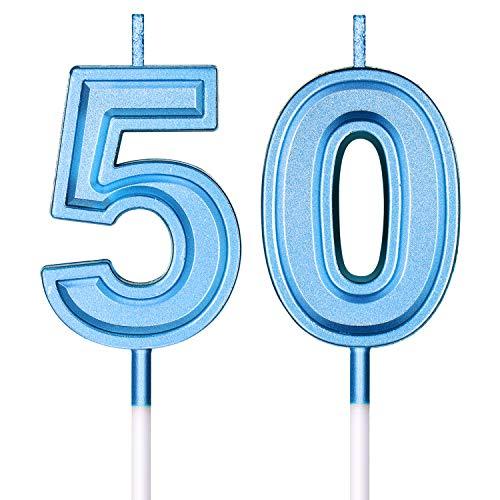 50. Geburtstag Kerzen Kuchen Nummer Kerzen Alles Gute zum Geburtstag Kuchen Topper Dekorationen für Geburtstag Hochzeit Jahrestag Feier Zubehör (Blau)