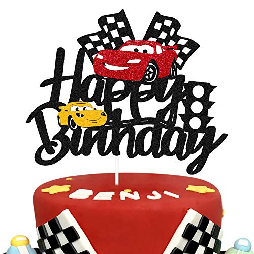 Car Cake Topper Race Car Cake Decorations for Racing Car Checkered Flag Themed Kids Boy Girl Happy Birthday Party Supplies Double Sided