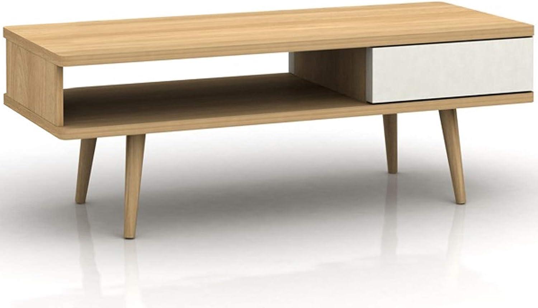 Loft24 Couchtisch wei Wohnzimmertisch Kaffeetisch 1 Schublade Sofatisch Beistelltisch Retro Skandinavisches Design Holz eichefarben