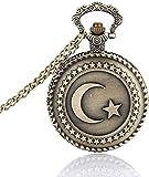 Amante Reloj de bolsillo Reloj de bolsillo de bronce Diseño de bandera turca antigua Reloj de bolsillo de cuarzo con tema de luna y estrella con collar de cadena de regalo