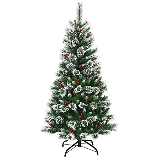 Goplus 5ft Unlit Snow Flocked Artificial Christmas Tree, Premium Hinged Full Tree, with Mixed Pine Needles, Red Berries and Metal Base, 100% New PVC Material, for Xmas Indoor and Outdoor Décor