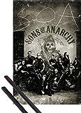 1art1 Hijos De La Anarquia Pster (91x61 cm) SOA Moteros, Vintage Y 1 Lote De 2 Varillas Negras