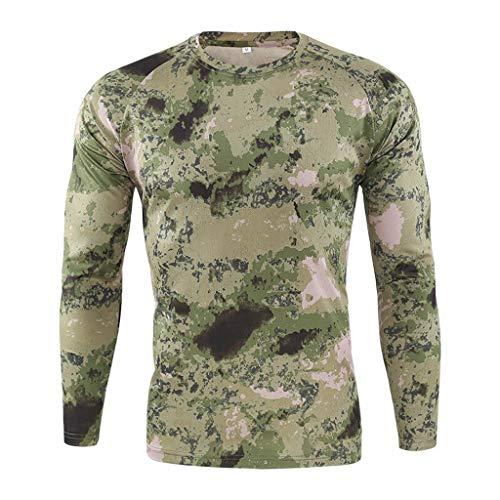 KaloryWee Herren Camouflage Outdoor Taktische Kleidung Langarm-Shirt Sport Pullover Feldanzug Schnelltrocknendes US Militär Langarmshirt Basic Pullover Sweater