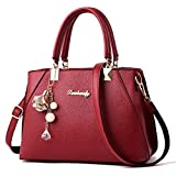 YAQUNICER, bolsos de cuero PU para mujer, bolsos bandolera de hombro con mensaje, bolsos de mano con colgante de moda-Vino Rojo