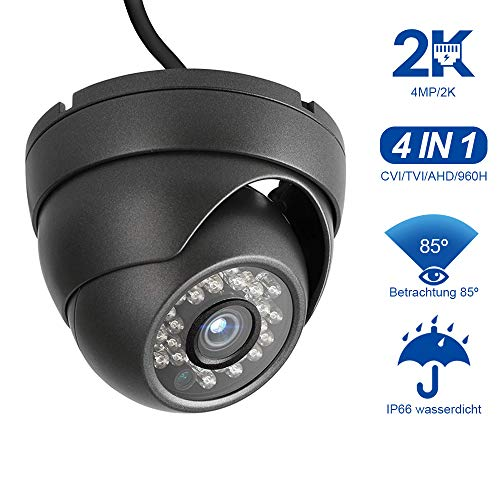 Dericam 4MP Telecamera di Sicurezza CCTV Dome Camera HD-CVI/TVI/AHD/960H Videosorveglianza 4-in-1 Analog CVBS, Custodia metallica IP66, 24 IR LED/82ft Visione Notturna, PAL, D4B