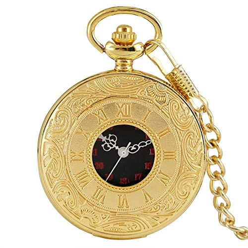 SWAOOS Reloj De Bolsillo De Cuarzo con Pantalla De Números Romanos De Moda Antigua, Reloj De Cadena Fob, Collar, Colgante, Hombres, Mujeres, Amigos