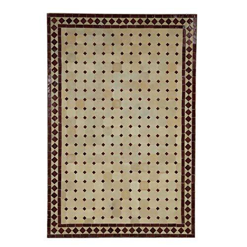 Casa Moro Mesa de jardín mediterránea | Mosaico marroquí Rombo Burdeos | 120 x 80 cm con Marco de Hierro | Hecho a Mano | Mesa de terraza Decorativa o de cóctel de jardín | MT2119