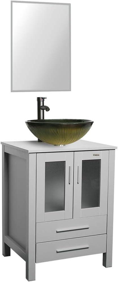 販売 24 Grey Bathroom Vanity Tempered Glass S Combo Style Vessel Sink アイテム勢ぞろい
