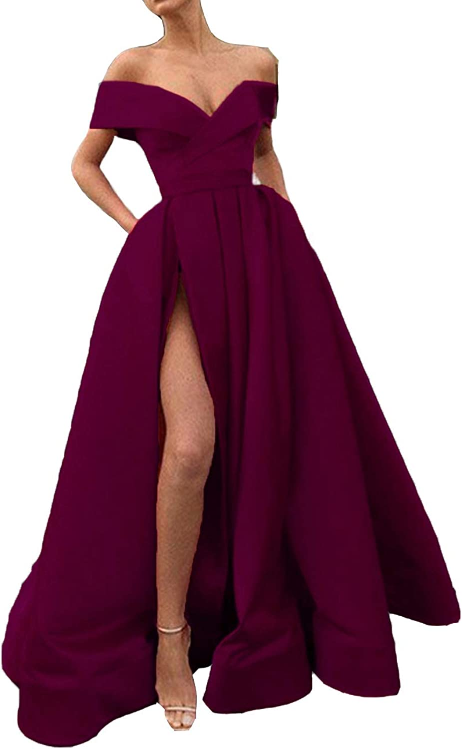 FTBY Spaghetti Straps Prom Dress 2019 with Slit Evening Dress Long Satin Formal Gown