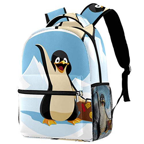 Cute Penguin Holding A Suitcase Cartoon Illustration Backpack for Teens School Book Bags Travel Casual Daypack