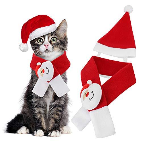 QKURT Pet Xmas Costumes Bekleidung, Weihnachten Santa Hat Schal für Katzen/Hunde Cosplay Dress up, Haustiere Weihnachten Thanksgiving Day New Year Party Kostüm | Fashion Wärme