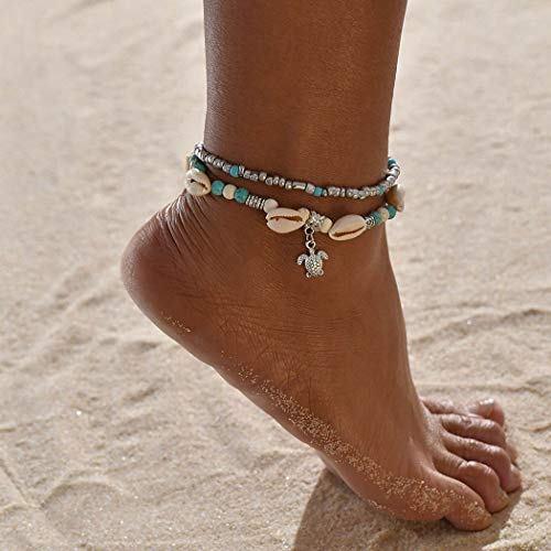 Ushiny Boho Shell Enkel Armband Turtle Beach Anklet Zilveren Beaded Voet Sieraden Ketting Accessoires voor Vrouwen en Meisjes