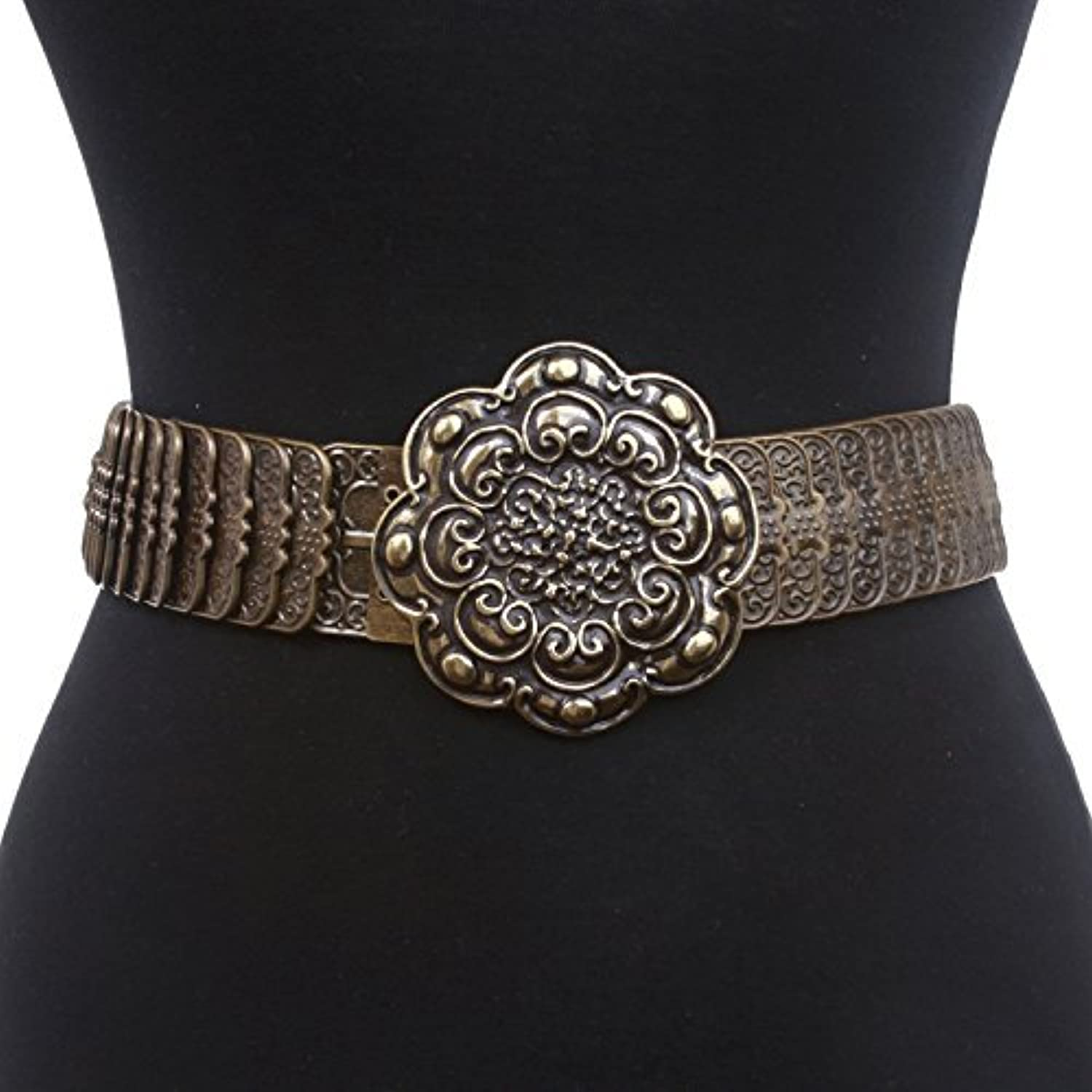 1 3 4  Engraved Round Flower Elastic Sequent Metal Stretch Belt
