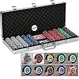 QZC Casino Poker Chip Set Texas Clay Poker Chip Set avec Mallette en Aluminium Jeu de Cartes Bouton pour Texas Holden Dealer Blackjack Tournois Jeux de Cartes Jeux d'argent 500PCS