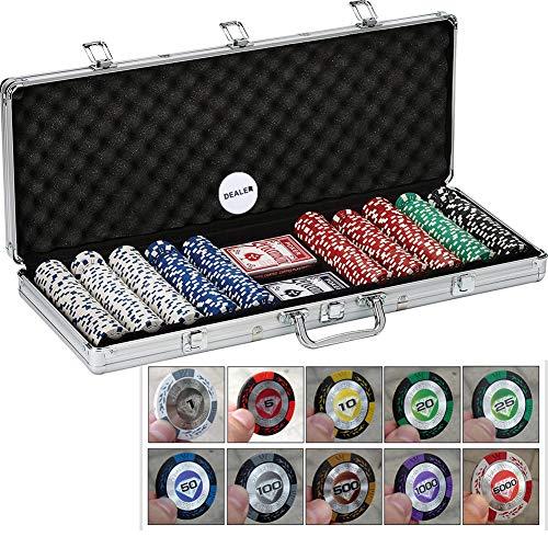 QZC Póker del Casino de fichas de póker de la Arcilla de Texas Conjunto de Chips con Aluminio de Transporte Reproducción Botón Tarjetas Distribuidor de Tejas Holden Blackjack Torneos de Juego 500PCS