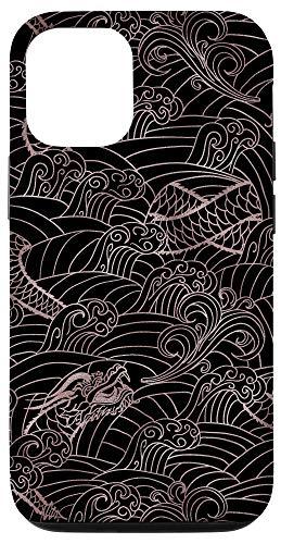 iPhone 12/12 Pro Japanese Dragon Rose Pattern Asian Phone Case Wave Samurai Case