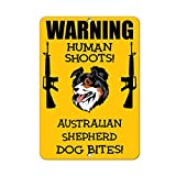 Aluminum Metal Novelty Sign,12x8inches,Australian Shepherd Dog Human Shoots Fun BN1529 Metal Poster Plaque Warning Sign Iron Painting Art Decor for Bar Cafe Garden Bedroom Office Hotel