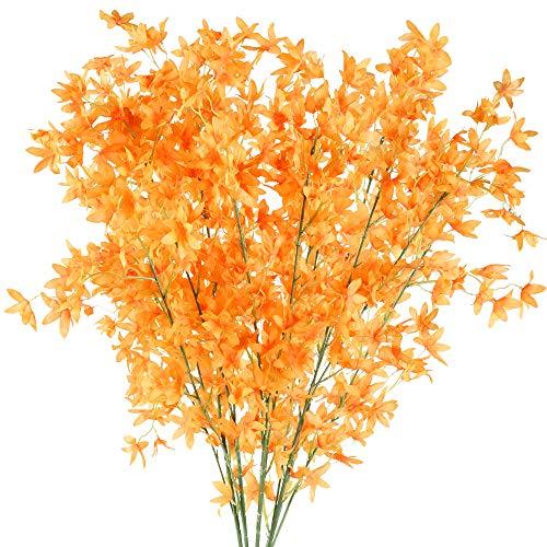 NAHUAA 4Pcs Künstliche Blumen Orange Deko Kunstblumen Rot Pfingstrose Plastikblumen Künstlich Dekoblumen Unechte Blumen Kunstpflanzen für Hochzeit Balkon Garten Topf Vase Dekoration