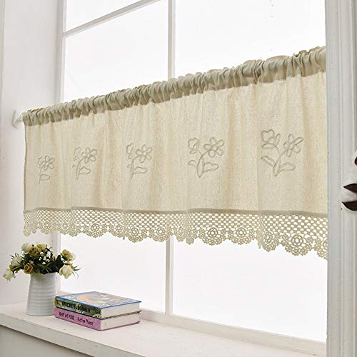 ZHH Kitchen Window Curtain Valance Handmade Flower Crochet Hollow Window Valance Cafe Net, Gift for Wife Mother 57 x 23 Inch (1 Panel) Beige