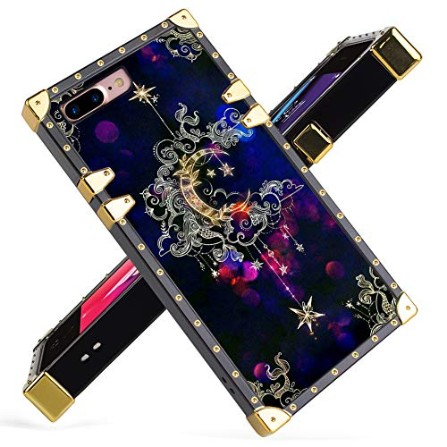 iPhone 7 Plus, iPhone 8 Plus Case Luxury Gold Moon Star Galaxy Floral Design Square Soft TPU Wrapped Edges and Hard PC Back Stylish Classic Retro Case 5.5 inch
