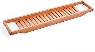 Goolsky Bathtub Caddy Tray Bamboo Spa Bathtub Caddy Organizer Soap Book Wine Tablet Towel Holder Nonslip Bottom