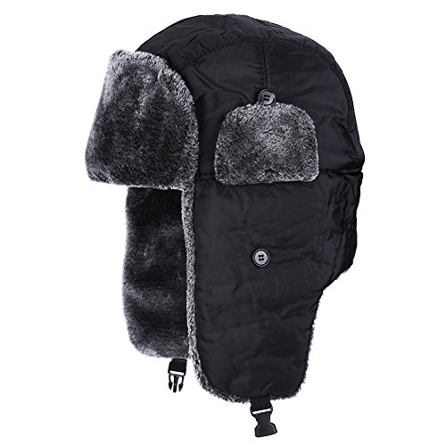 Gorros Orejeras Pasamontañas de Esquí a Prueba de Viento Sombrero de Trampero 3 Colores(negro)