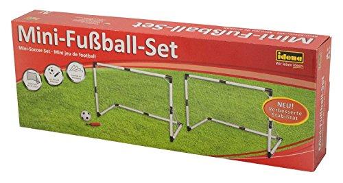 Idena 40465 - 2 Mini Fußballtore aus Kunststoff mit Netz, Ball und Ballpumpe, ab 6 Jahren, ca. 90 x 60 x 50 cm, schnelle Montage, ideal für Garten, Park, Strand oder Halle