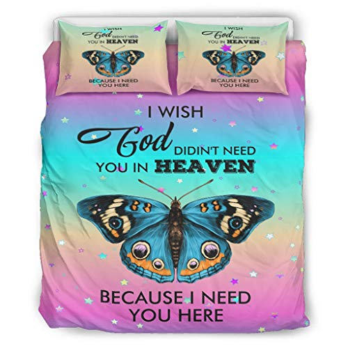 Charzee I Wish God Didin't Need You In Heaven Because I Need You Here Stylish Design Bedding Set Bettbezug Set Super Soft Breathable Bettwäsche-Set für Kinder Contains: 1 Duvet White 264x229cm