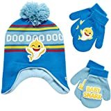Nickelodeon Boys' Baby Shark Winter Hat and 2 Pairs of Mitten Set (Toddler), Size Age 2-4, Baby Shark Blue