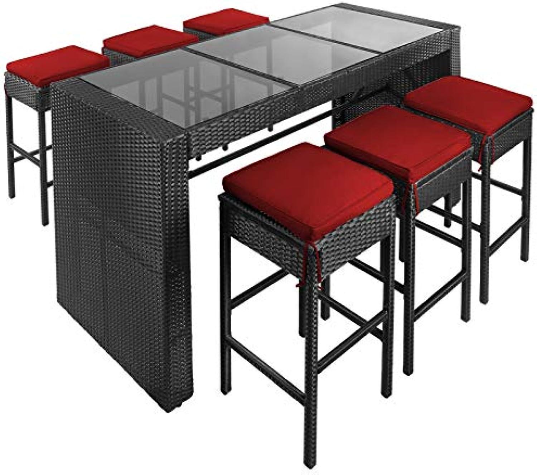 BB Sport 13-teilige Polyrattan Bar für 6 Personen inkl. Sitzkissen und Bezügen, Farbe Titan-Schwarz Abendsonne